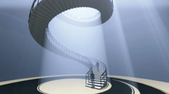 People go to the spiral staircase Stock Footage