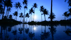 Sunrice And Beach With Swimming Pool Stock Footage