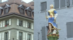 SWITZERLAND Lausanne justice statue in old town Stock Footage