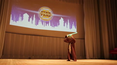 Star Wars Cosplay show. Costume Contest on stage during the festival Star Fans. Stock Footage