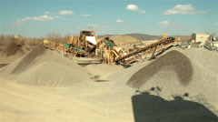 Separation of sand in construction industry. Sand falling from conveyor on pile. Stock Footage