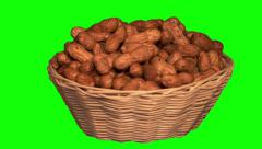 Peanuts in basket Stock Footage