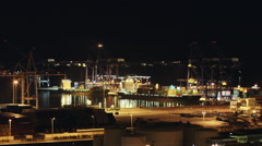 Real time ,night ,trading port activity freighters Stock Footage
