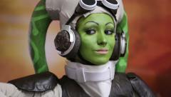 Girl-fan of Star Wars in the form of one of the characters of the famous saga. Stock Footage