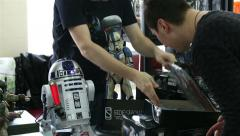 Shop with toys and symbols of the movie Star Wars. Stock Footage