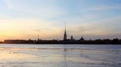 Sunset on the Neva River in St. Petersburg, Russia. Full HD Stock Footage