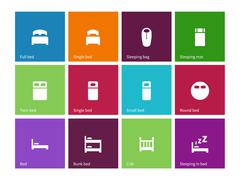 Full and single bed icons on color background Stock Illustration