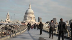 Millennium Bridge and St Paul's Cathedral, London 3 Stock Footage