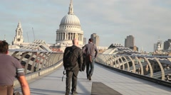 Millennium Bridge and St Paul's Cathedral, London 2 Stock Footage