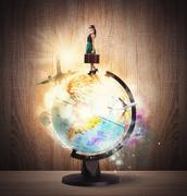 Turning around the world - stock illustration