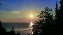 Sunset Looking West Over Lake Superior Stock Footage