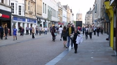 Oxford high street crowd Stock Footage