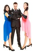 Stock Photo of Secret investigation with two women and one man