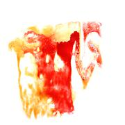 stain with red, yellow watercolour paint stroke watercolor isola - stock illustration