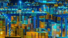 4K trading port ,logistics, crane activity, night timelapse - stock footage