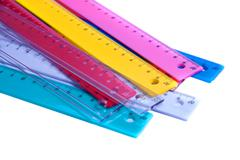 Colorful RULLERS FOR MATHEMATICS AND GEOMETRY IN SCHOOL - stock photo
