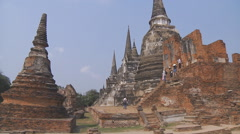 Wat Phra Sri Sanphet at the Ayutthaya Park in Thailand Stock Footage