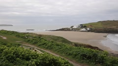 Burgh Island South Devon England UK near Bigbury-on-Sea PAN Stock Footage