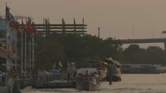 Traffic on Chao Phraya River near Asiatique The Riverfront (Slow Motion) Stock Footage