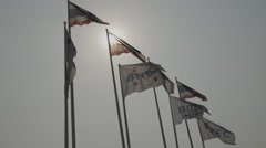 Flags in front of BITEC Exhibition hall (Slow Motion) Stock Footage