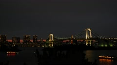 Tokyo Odaiba Nigth Rainbow bridge 4K Stock Footage