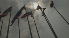 Flags in front of Impact Arena Muang Thong Thani (Slow Motion) - stock footage