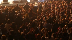 Stock Video Footage of The audience at a concert cheering and applauding to the singer