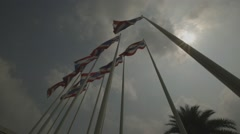 Flags in front of Impact Arena Muang Thong Thani (Slow Motion) Stock Footage