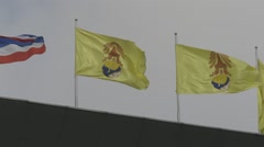 Flags at MCOT Office (Slow Motion) Stock Footage