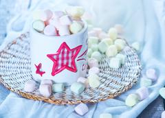 marshmallow in bowl on a table - stock photo