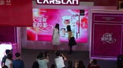 Shenzhen, China: female star, cosmetic sales promotion activity Stock Footage
