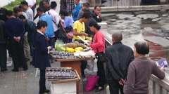 The roadside stalls, selling sugar cane Stock Footage