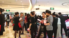 Cosmetic sales promotion activity, shopping mall in Shenzhen Stock Footage
