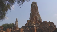 Wat Phra Ram at the Ayutthaya Historical Park in Thailand Stock Footage