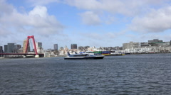 Rotterdam - Meuse  River Waterbus and Container Ship with Stock Footage