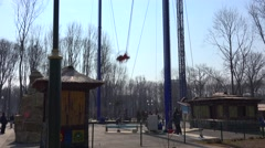 KHARKOV - APRIL 21: Gorky Park City, catapult attraction in action, on April 21, Stock Footage