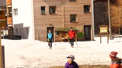 skiing in the snow - stock footage