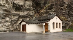 Traditional village and church Stock Footage