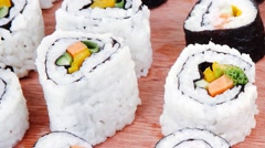 Maki rolls with live crab Stock Footage