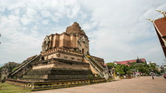 Wat Chedi Luang monument temple in Chiang Mai - DSLR Hyperlapse, tracking shot Stock Footage