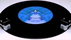 vinyl Vintage plays Oldies  on turntable Mirroring VJ Loop - stock footage