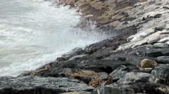 sea waves foam rocks breakers shore storm - stock footage