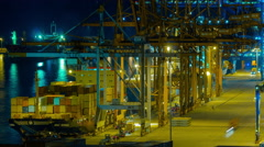 4K trading port ,logistics, crane activity,freighter unloaded, night timelapse - stock footage