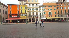 4K Tourists walking at Piazza Bra, Verona Italy - stock footage