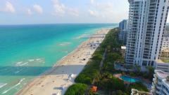 Aerial of BEachfront property on South Beach Miami Stock Footage
