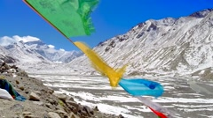 Tibetan view of Mt. Everest & Prayer Flags No.1 Stock Footage