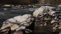 Mountain River among Trees and Stones in Gorge 8 - stock footage