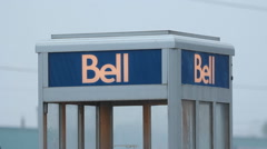 Bell telephone booth in the rain. Sudbury, Ontario, Canada. Stock Footage