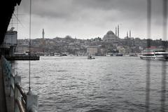Suleymaniye Mosque from Galata Bridge - stock photo