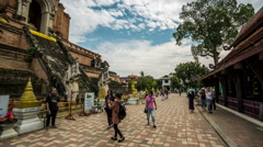Wat Chedi Luang monument temple DSLR Hyperlapse, tracking shot Stock Footage